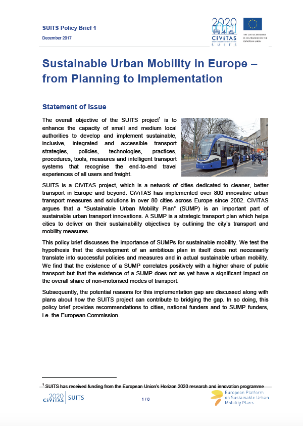 SUITS 1st Policy Brief: Sustainable Urban Mobility in Europe – from Planning to Implementation