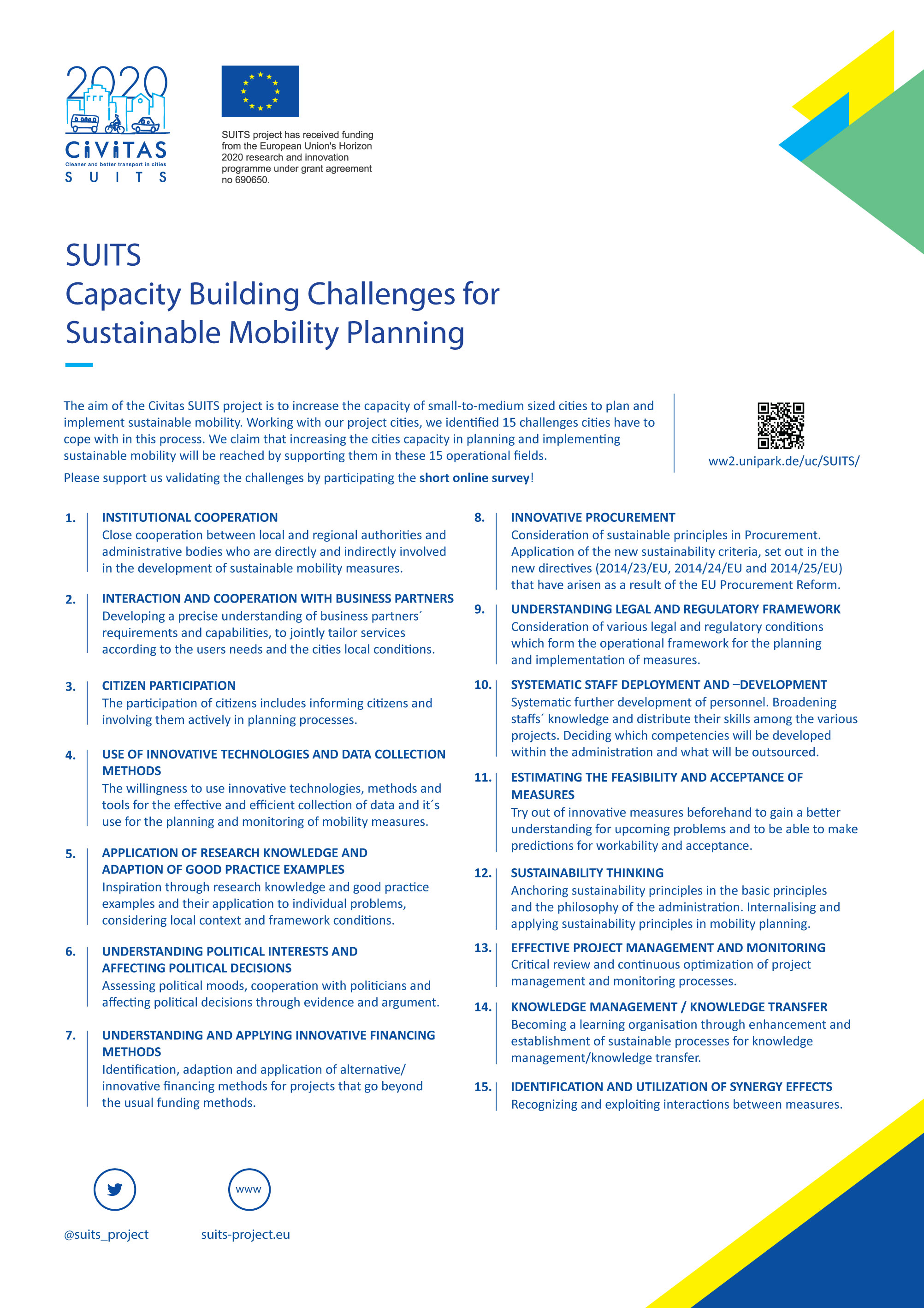 SUITS survey: Validate the capacity building challenges 4 sustainable Mobility Planning