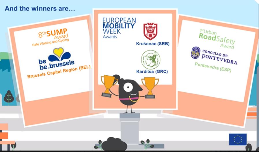 2019 sustainable mobility awards: Kruševac, Karditsa, Brussels, Pontevedra